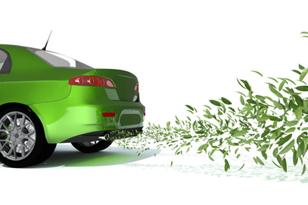 ecological car exhausting green leaves instead of smoke