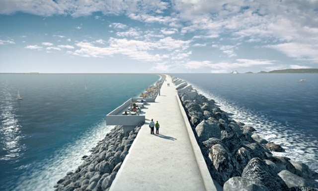 An artist's impression of the how the 9.5km sea wall will extend out over Swansea Bay